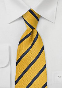 XL Length Striped Tie in Yellow and Navy