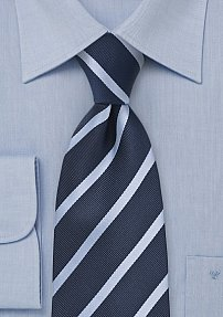 Striped Tie in Dark and Light Blues