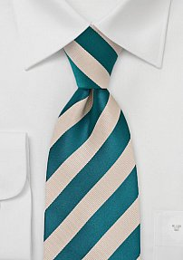 Champagne and Blue Striped Tie