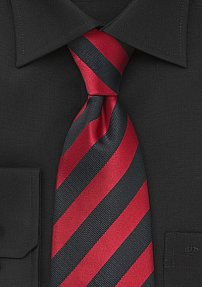 Deep Red and Black Necktie for Boys