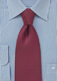 Wine Red Kids Tie with Matte Woven Texture