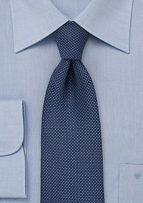 Classy Navy Tie with Grenadine Texture in XL Length