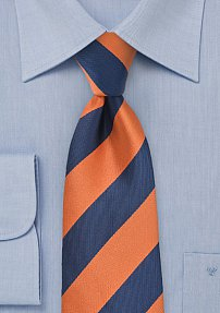 Wide Striped Tie in Dark Blue and Orange