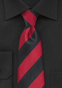 Striped Boys Sized Necktie in Bright Red and Jet Black