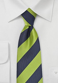 Bold Striped Tie in Dark Navy and Lime