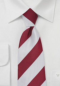 Classic Striped Tie in Cherry and White