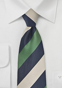 Elegant Wide Striped Tie in Dark Blue, Olive Green, and Beige