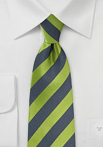 Modern Striped Tie in Green and Charcoal