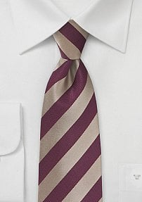 Classic Striped Tie in Burgundy and Gold
