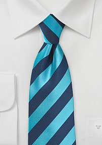 Repp Textured Striped Tie in Cyan and Navy