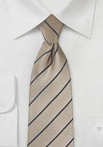 Beautiful Latte Colored Tie with Diagonal Graphite Stripes