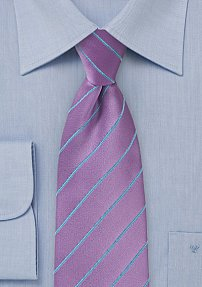 Bright Wisteria Colored Tie with Sky Blue Lines