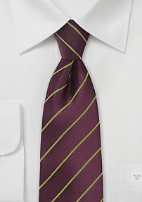 Modern Necktie Featuring Eggplant Purple and Moss Green
