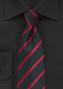 Modern Black Tie with Bright Red Stripes in XXL Length