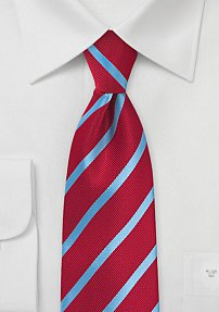 Tomato Red and Cornflower Blue Striped Tie