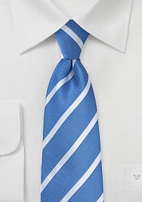 Riviera Blue and Silver Striped Tie in Long Length