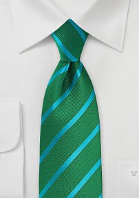 Repp Striped Tie in Kelly Green and Turquoise