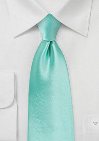 XXL Length Single Colored Tie in Beach Glass