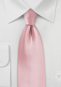 Solid Extra Long Sized Necktie in Petal Pink