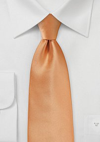 Shiny Apricot Tie in Extra Long Length