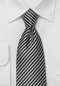Smoke Gray and Charcoal Striped Tie