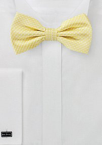 Soft Yellow Pin Dot Bow Tie