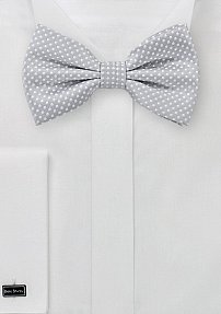 Soft Gray Bow Tie with Pin Dot Design