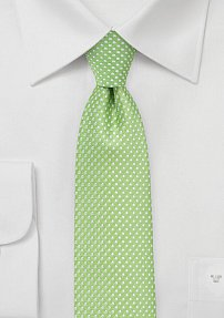 Narrow Pin Dot Tie in Spring Green