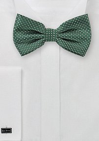 Hunter Green Bow Tie with Silver Pin Dots