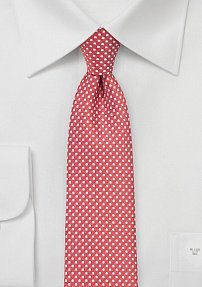 Narrow Pin Dot Tie in Coral Red