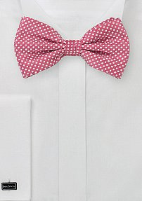 Dark Coral Bow Tie with White Pin Dots