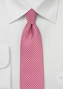 Narrow Pin Dot Tie in Dark Coral