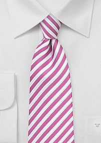 Summer Striped Necktie in Very Berry