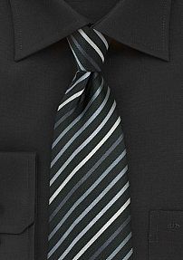 Black XL Size Tie With Silver, Gray, and White Stripes