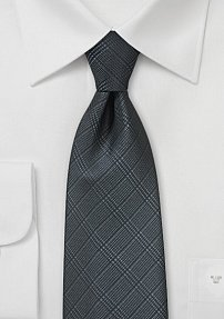 Trendy Plaid Tie in Deep Charcoal