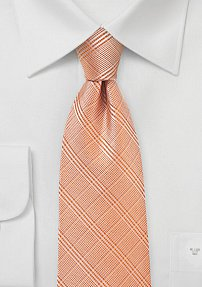 Summer Plaid Tie in Cantaloupe