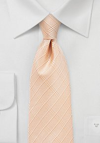 Extra Long Plaid Tie in Peachy Coral