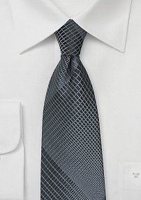 Geometric Plaid Tie in Charcoal and Silver