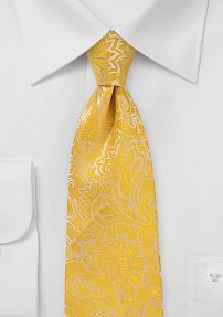 Summer Paisley Necktie in Lemon Yellow Made for Kids