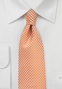 Checkered Extra Long Tie in Tangerine Pastel