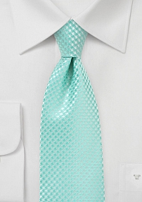 Houndstooth Check Tie in Pool Blue for Tall Men