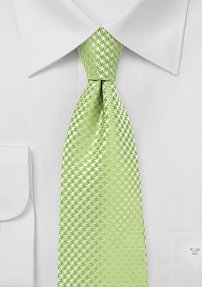 Micro Houndstooth Check Tie in Lime Green