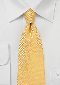 Micro Houndstooth Pattern XL Length Tie in Freesia Yellow
