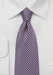 Micro Houndstooth Check Tie in Amethyst
