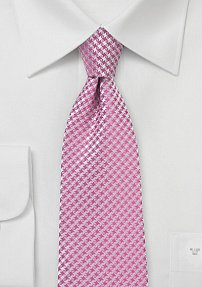 Micro Houndstooth Check Tie in Bubblegum Pink