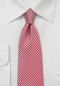 Micro Houndstooth Check Tie in Spiced Coral