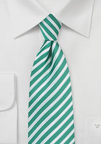 Summer Striped Necktie in Sea Green