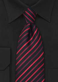 Modern Striped Mens Tie in Black and Red