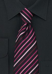 XL Striped Tie in Pink and Black