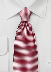 Micro Check Patterned Tie in Red and Silver